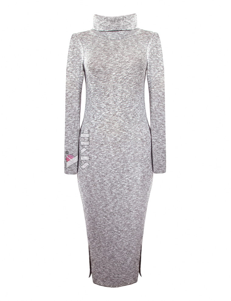 Серое меланжевое платье XC306