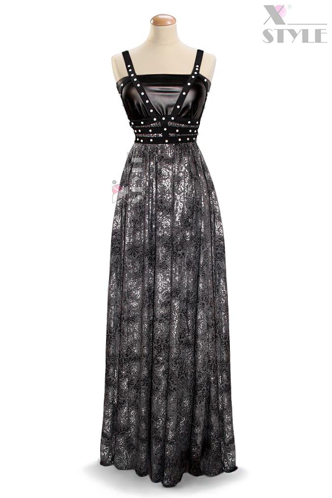 Длинное платье с портупеей и жемчугом, 3