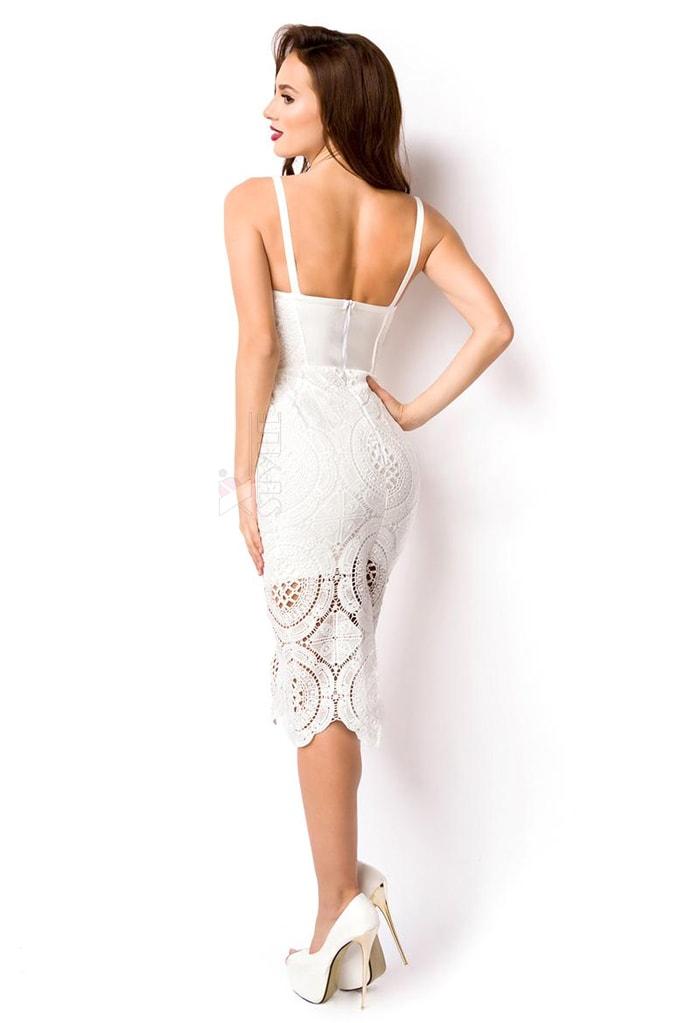 Бандажное белое платье миди XC5330, 7