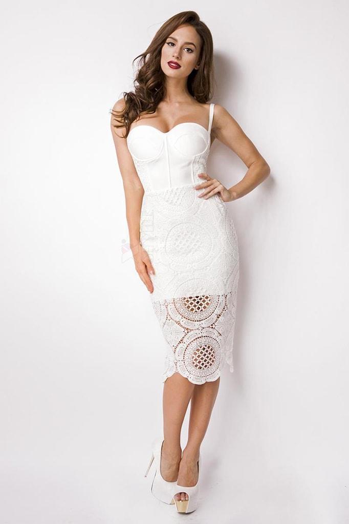 Бандажное белое платье миди XC5330, 3