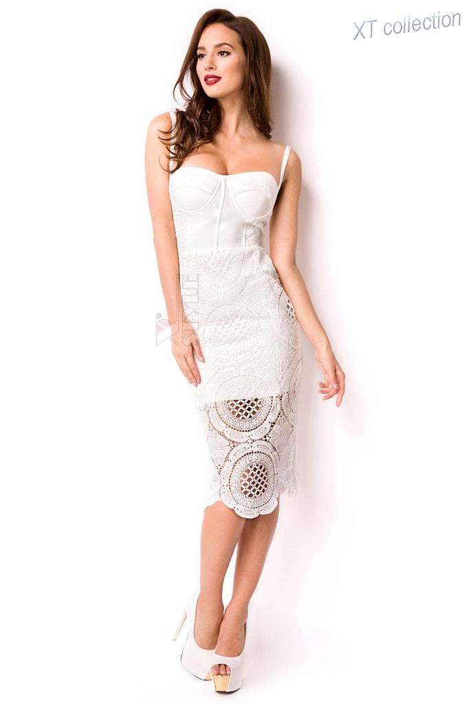 Бандажное белое платье миди XC5330