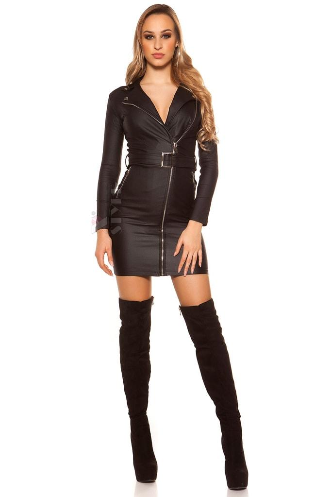 Платье под кожу с декольте и поясом KouCla, 9