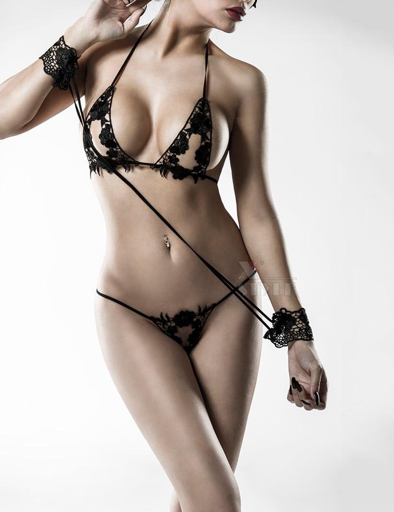 Сексуальное белье с наручниками и маской Grey Velvet, 3