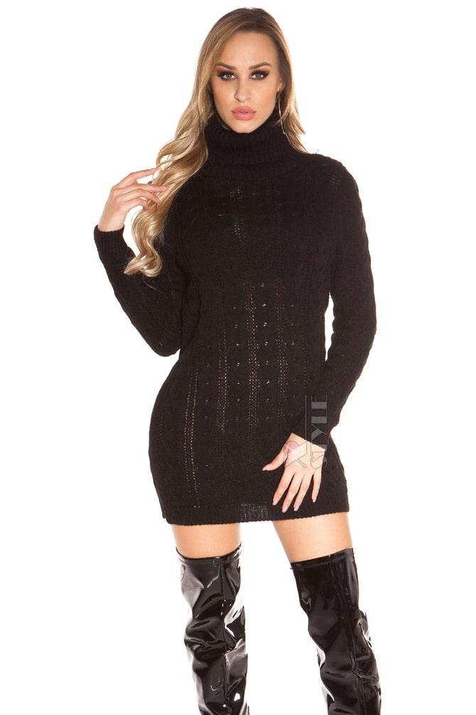 Черный свитер-платье KC5434, 11