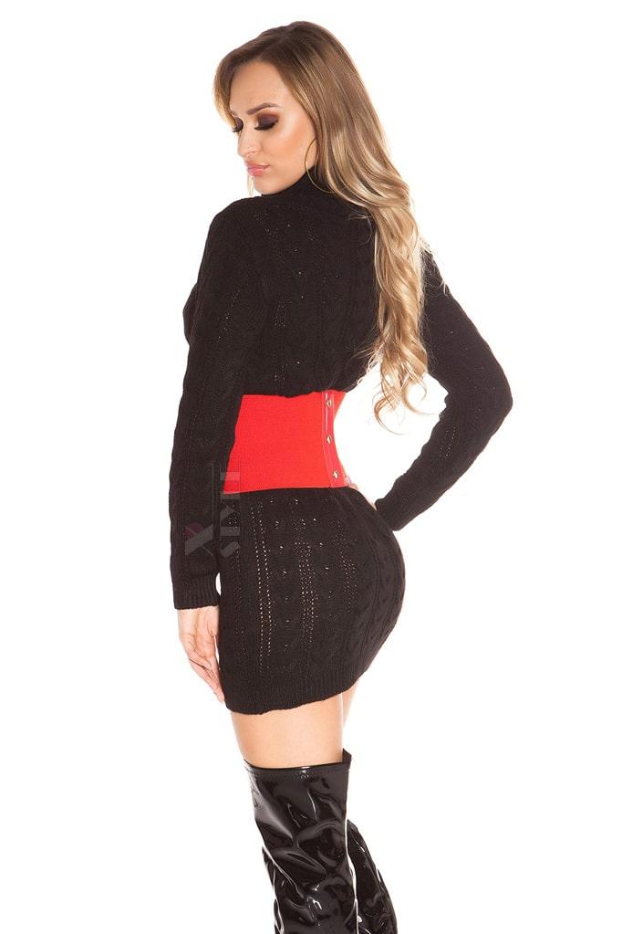Черный свитер-платье KC5434, 9