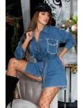 Джинсовая рубашка-платье с поясом KC3030