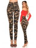 Камуфляжные джинсы с высоким поясом KouCla