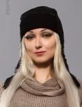 Вязаная шапка-ушанка женская (502038)