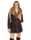 Зимнее пальто с мехом внутри и на воротнике