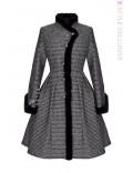 Винтажное зимнее пальто из твида рогожки Х5056