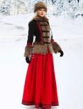 Короткое пальто с мехом и вышивкой X-Style