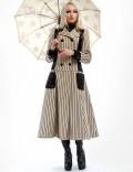 Винтажное пальто в полоску