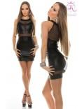 Платье под кожу с сеточкой KouCla