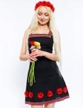 Льняное платье с цветами и вышивкой Xstyle