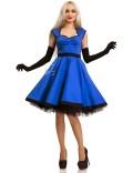Хлопковое платье в стиле Ретро (электрик)