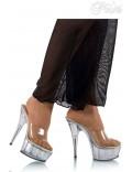 Прозрачные шлепанцы на высоком каблуке P1006