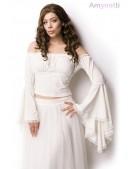 Белая блузка в пиратском стиле A212 (101212) - foto