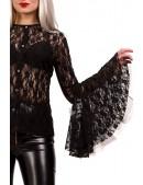 Ажурная черная блузка X1216 (101216) - 4, 10