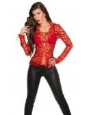 Красная ажурная блузка MF1218 (101218) - материал, 6