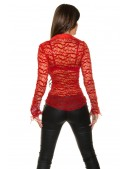 Красная ажурная блузка MF1218 (101218) - 4, 10
