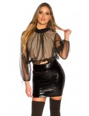 Укороченная блуза с прозрачным рукавом MF1222 (101222) - foto