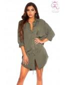Длинная рубашка-платье из лиоцелла (хаки) (103027) - цена, 4