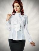 Белая блуза с жабо (101154) - foto