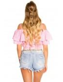 Клетчатая блуза с открытыми плечами MF1199 (101199) - оригинальная одежда, 2
