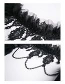 Бархатное болеро с кружевом, цепочками и перьями (104121) - материал, 6