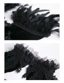 Бархатное болеро с кружевом, цепочками и перьями (104121) - оригинальная одежда, 2