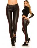 Кожаные джинсы на флисе с лампасами (108084) - цена, 4
