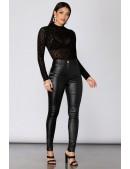Кожаные брюки высокой посадки X8106 (108106) - цена, 4