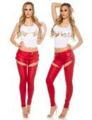 Красные брюки-джинсы под кожу (108067) - материал, 6