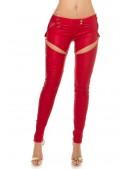 Красные брюки-джинсы под кожу (108067) - цена, 4