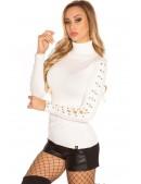 Белая водолазка-свитер KouCla (111214) - оригинальная одежда, 2