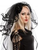 Черная фата невесты с кружевом (504212) - цена, 4
