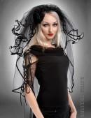 Черная фата невесты с кружевом (504212) - foto