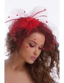 Красная шляпка с вуалью A2014 (502014) - foto