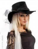 Широкополая черная шляпа с фатой (502056) - foto