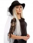 Широкополая черная шляпа с фатой (502056) - оригинальная одежда, 2