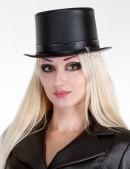Кожаная шляпа-цилиндр (501012) - foto