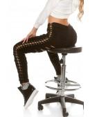 Черные джинсы со шнуровкой и прорезями KouCla (108109) - foto