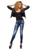 Зауженные джинсы с цепями (108037) - оригинальная одежда, 2