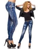 Зауженные джинсы с цепями (108037) - foto