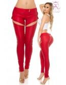 Красные брюки-джинсы под кожу (108067) - foto