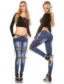 Узкие женские джинсы со шнуровками MF8072 (108072) - цена, 4