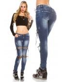 Узкие женские джинсы со шнуровками MF8072 (108072) - foto