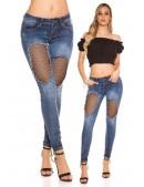 """""""Рваные"""" голубые джинсы с сетчатой вставкой MF8086 (108086) - цена, 4"""