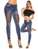 """""""Рваные"""" голубые джинсы с сетчатой вставкой MF8086 (108086) - оригинальная одежда, 2"""