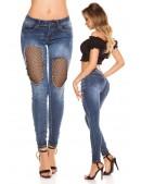 """""""Рваные"""" голубые джинсы с сетчатой вставкой MF8086 (108086) - foto"""